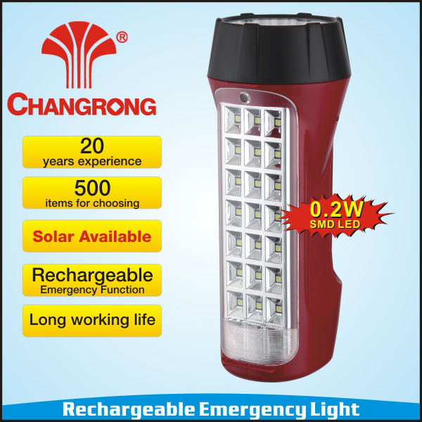 Chinese manufacture rechargeable emergency solar torch/flashlight