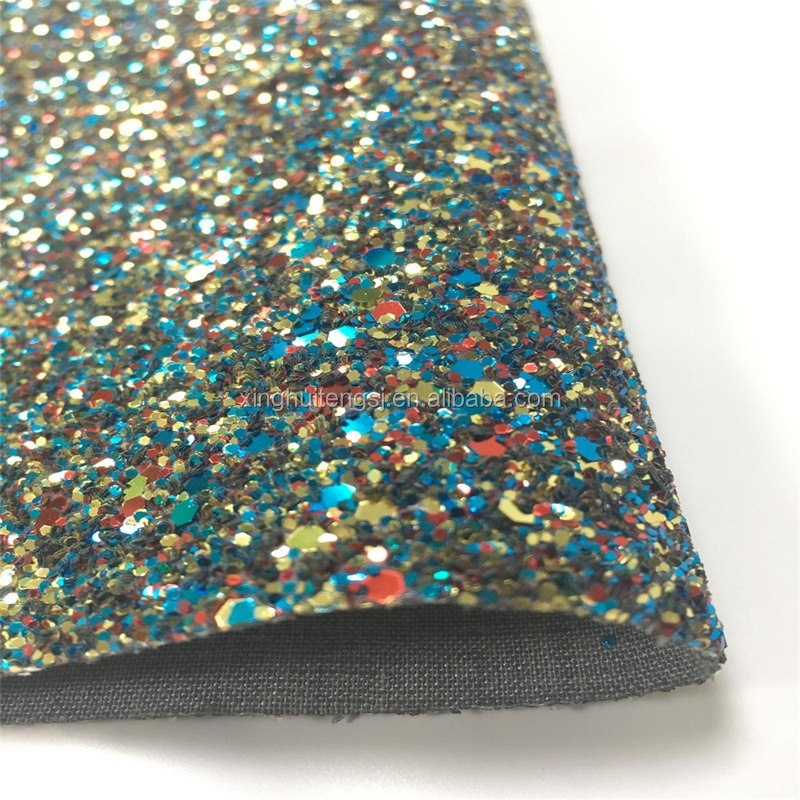 Wholesale artificial thicker glitter fabric <strong>leather</strong> for bags making
