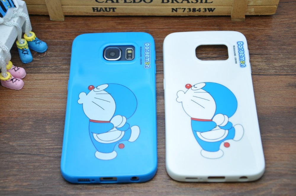 Fashion Lovely Ultra-Thin Shockproof Phone Case 3D Cartoon Doraemon Back Cover Case For Samsung Galaxy S6 Edge Shell