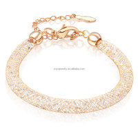 high quality discount wholesale jewelry 18k rose gold mesh crystal chain bracelet 2015