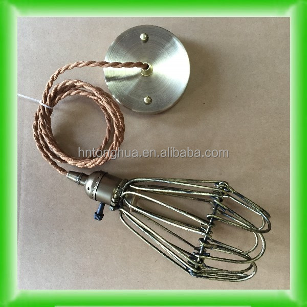 Metal Cage lamp with handle Fabric Wire Cloth cord Edison bulb Lamp