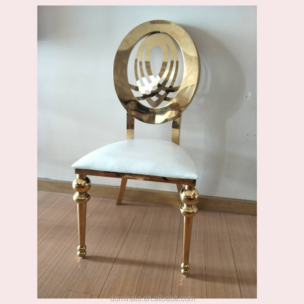 Dubai wholesale royal romance rose golden wedding stainless steel dining chair
