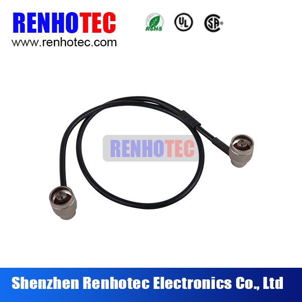 black n to n male rf coax connector cable assembly