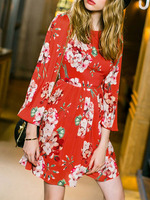 Day Dresses Boutique fashion women girl clothes Red Round Neck Length Sleeve Floral Print Dress