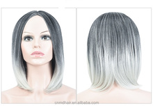 Ombre Burgundy/Blonde and Silver Cheap Short African American Bob Wigs
