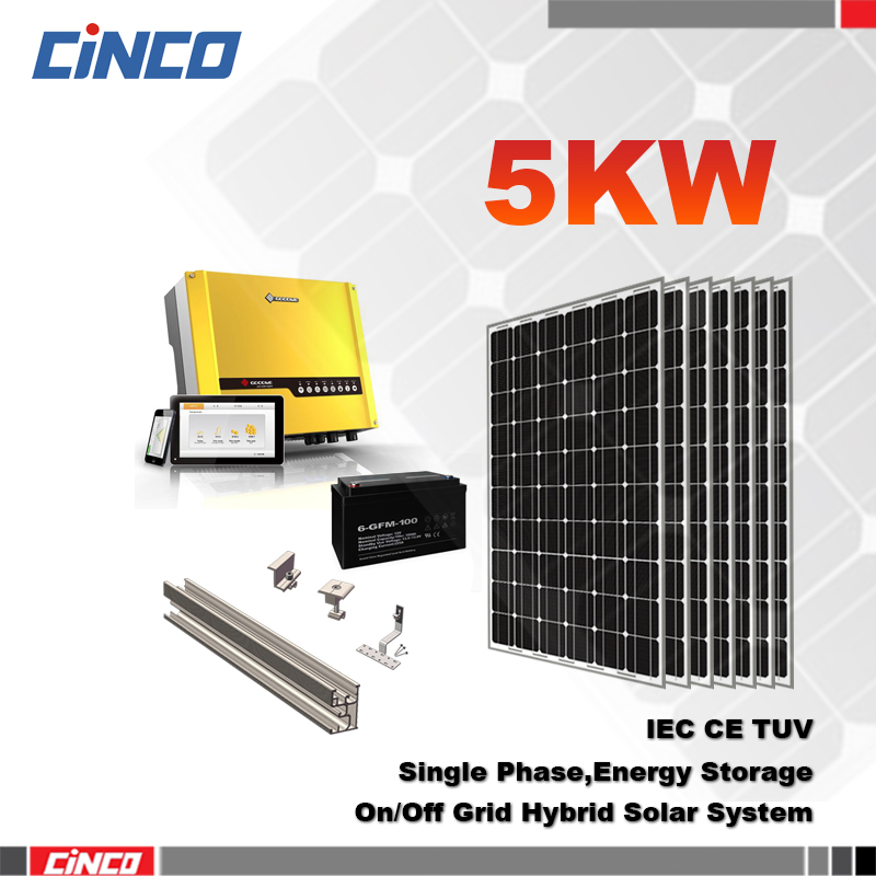 High efficiency solar energy system 5000W for home on/off grid sell electricity to grid of city