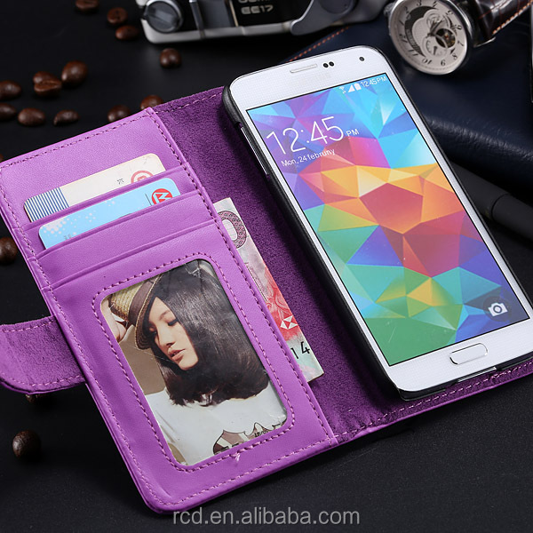 Stylish Flip Cover For Samsung S5 Leather Case For Galaxy I9600 Foldable Stand Case For Samsung Galaxy S5 I9600 RCD03814