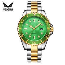 Fashion quality stainlee steel strap water resistant mens watches luxury brand 3 bar quartz gold watch