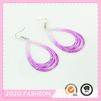 Designed light thin copper wire earrings