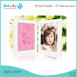 Hotsale Baby handprint and footprint clay diya woods crafts import frames