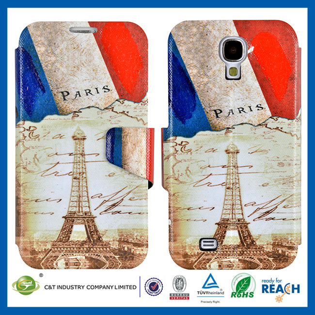 C&T Retro paris pattern leather wallet case for samsung galaxy s4