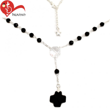 Fashion Novel design cheap black crystal rosary beads
