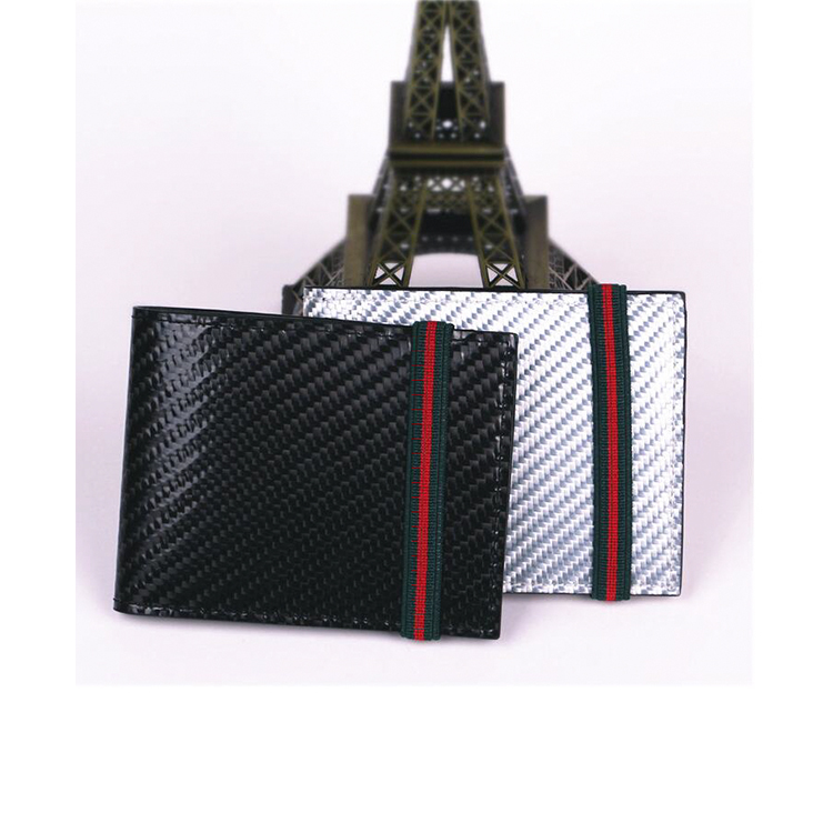 Custom durable carbon fiber leather men wallet with band