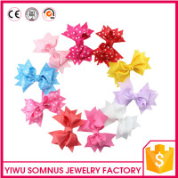 Stock 10pcs/bag factory direct korean grosgrain ribbon kids bow hair clips