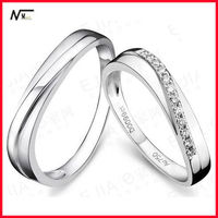 Free Shipping New Lover's Sterling silver Trade Assurance Wedding Diamond Ring