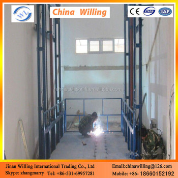 Made in china stationary guide rail lift platform
