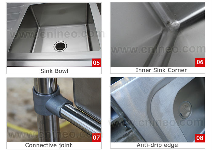 1 Bowl Commercial Restaurant Kitchen Stainless Steel Sink Table(INEO are professional on commercial kitchen project)