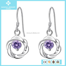 Cheap China Rhinestone Sterling Silver Dangle Earrings, Earring Factory China