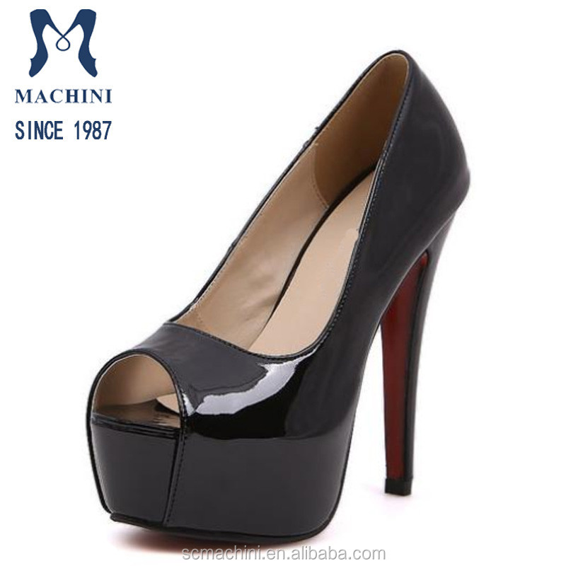 Chengdu shoes factory Italian imported leather women fancy high heel black dress shoes