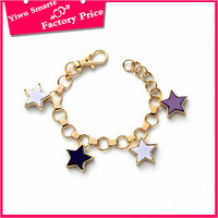 Low moq lead and nickel safe alloy fashion jewelry sets,Cute girls summer hotsell daily wear biker chain bracelet with star