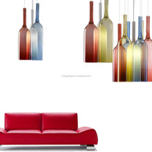 Decorative Colorful Glass Bottle Hanging Pendant Lights Chandelier For Bar