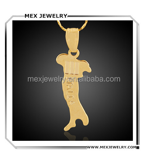In stock!2016 fashion gold customized Italy country shape map charm pendant design