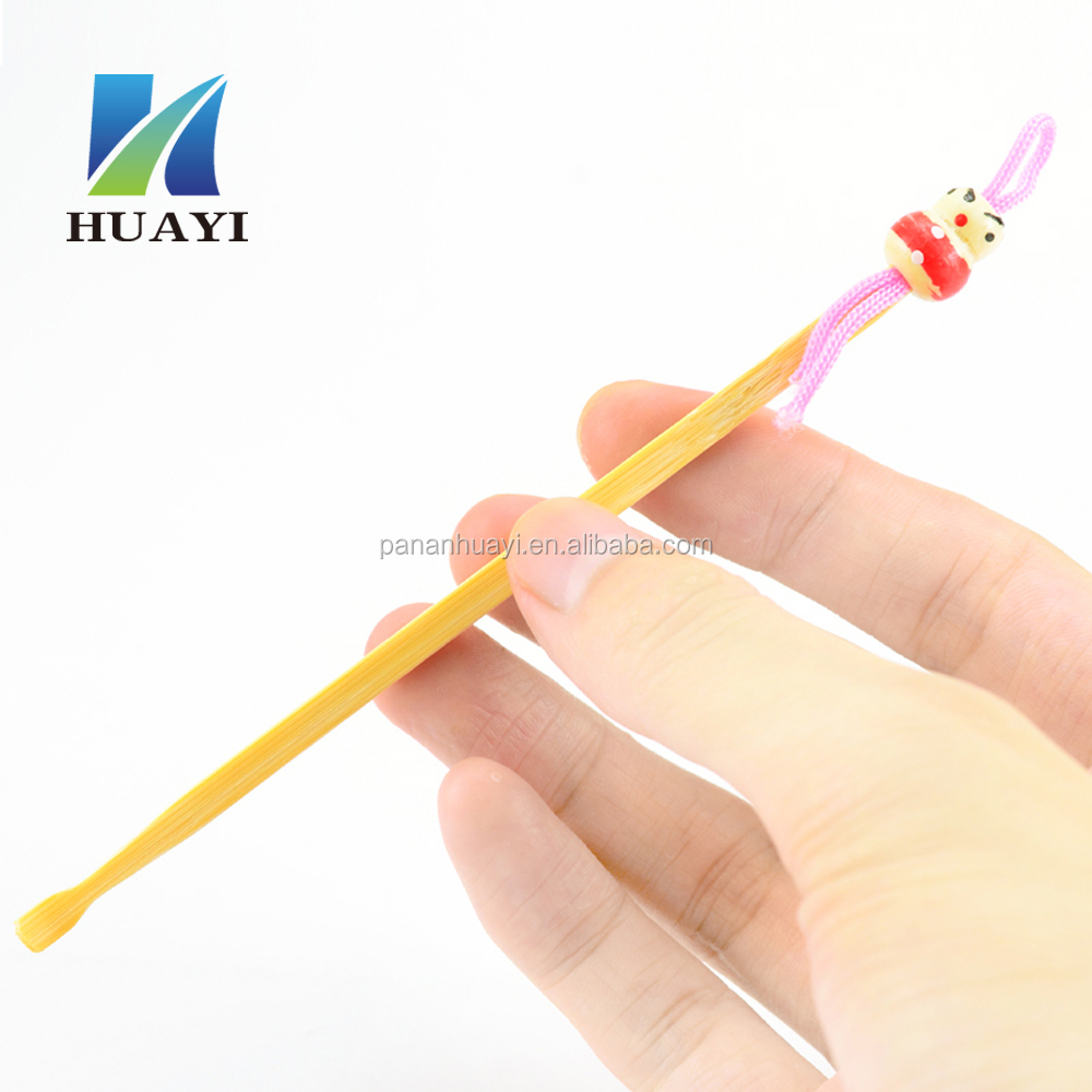 Bamboo Earwax Cleaner spoon earpick with colorful dolls