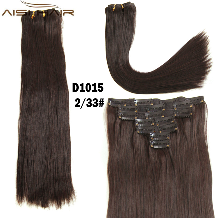 Mixed Color Ash Auburn Color Full Head Machine Made Double Weft 160g Synthetic Clip in Hair Extensions