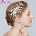 Wedding Barrettes Crystal Bridal Hair Clip Rhinestone Hair Claws Leaf Hair Clip Dress Headpiece Silver Color
