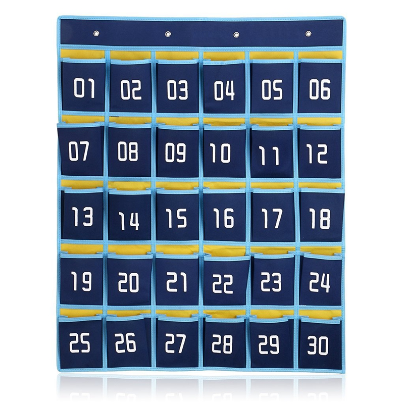 2017 NEW Hot sales 30 Pockets Classroom Wall Pocket Chart For Cell Phones File hanging Organizer