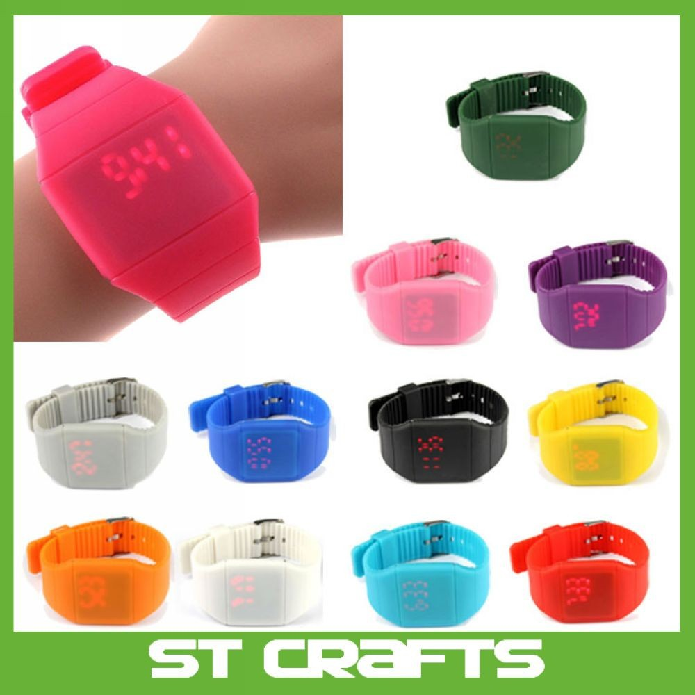 Fashion children Boys Kids Digital LED Touch Sports Silicone Bracelet Wrist Watch