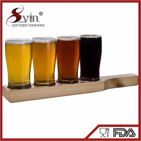Customized Beer Flight Taster Set Beer Paddle with Glasses