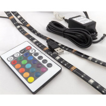 Non- Waterproof 50CM 1M 2M 3M 4M 5M USB LED Strip Light 5V 5050 3528 SMD RGB Warm / White Flexible TV Background Lighting Strip