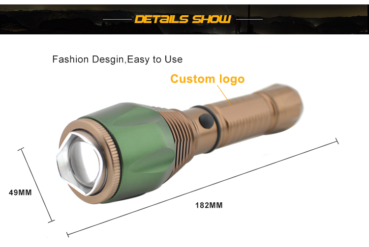 202g 268 Lumens 3 modes Zoomable High Quality Cree Q5 Led Charging Torch Light