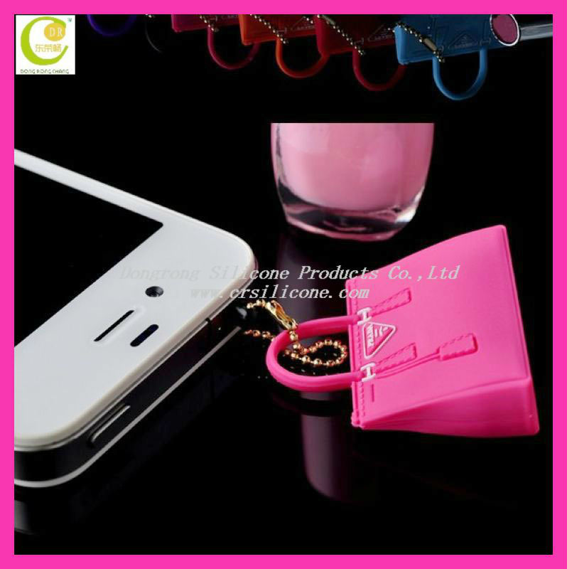 3D Bag Mini Earphone Jack 3.5mm Earphone Cap Dock SiliconeAnti Dust Plug for iPhone 4 4S 5 5g moble phone
