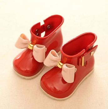 Wholesale cheap factory PVC plactic girls bow rain kids jelly boots shoes