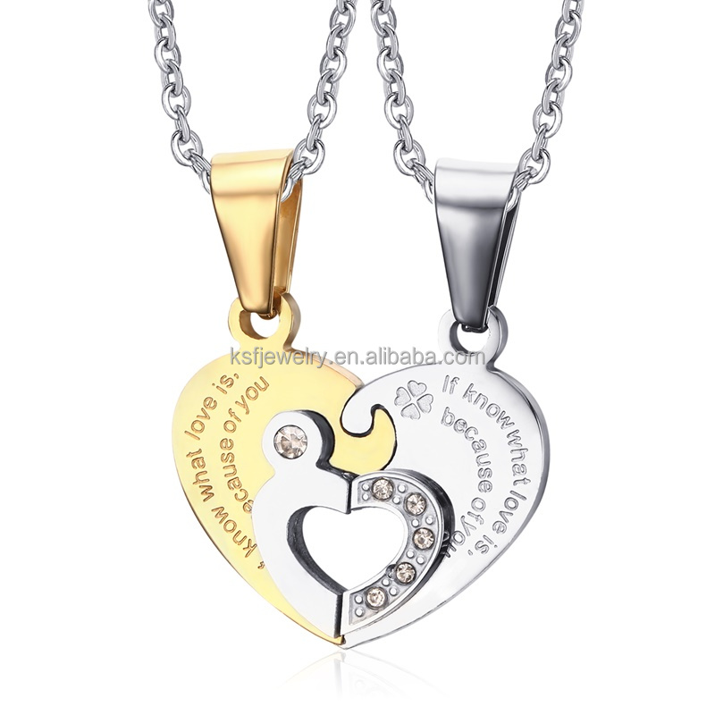 2016 hot sale Stainless Steel hollow Heart <strong>Pendant</strong> gold with silver double heart puzzle design couple <strong>Pendant</strong> Set