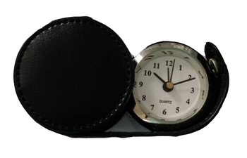 Portable travel leather clock for promotion gift