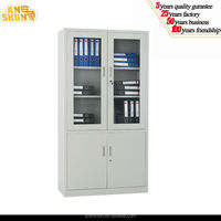 Anshun Factory Directly KD Office furniture glass door file cabinet with 3 shelves office used steel storage metal cabinet
