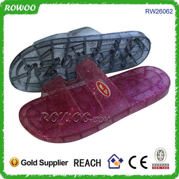 Korea styles clear PVC slipper,PVC slipper with glitter