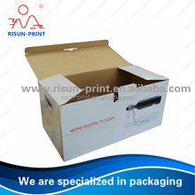 Hot Sale corrugated Wine Bottle Carrier Box /wine packaging box / cardboard wine box