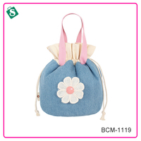Little flower jeans canvas drawstring cosmetic cases