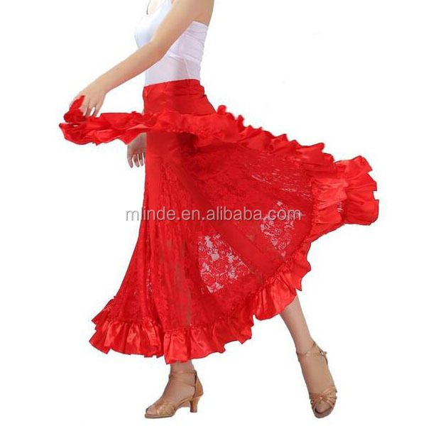 Competitive Price Cheap Elegant Ballroom Dancing lace Latin Dance Party Long Swing Race Skirt Dress