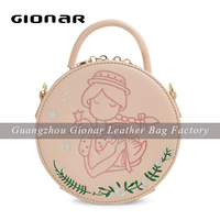 Embroidery PU Leather Bag Round Mini Shoulder Bag