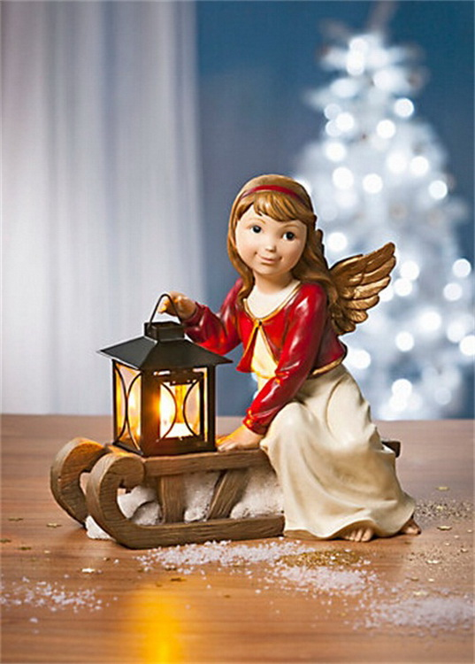 2016 New Christmas decoration, Angel sitting on the sleigh with lantern