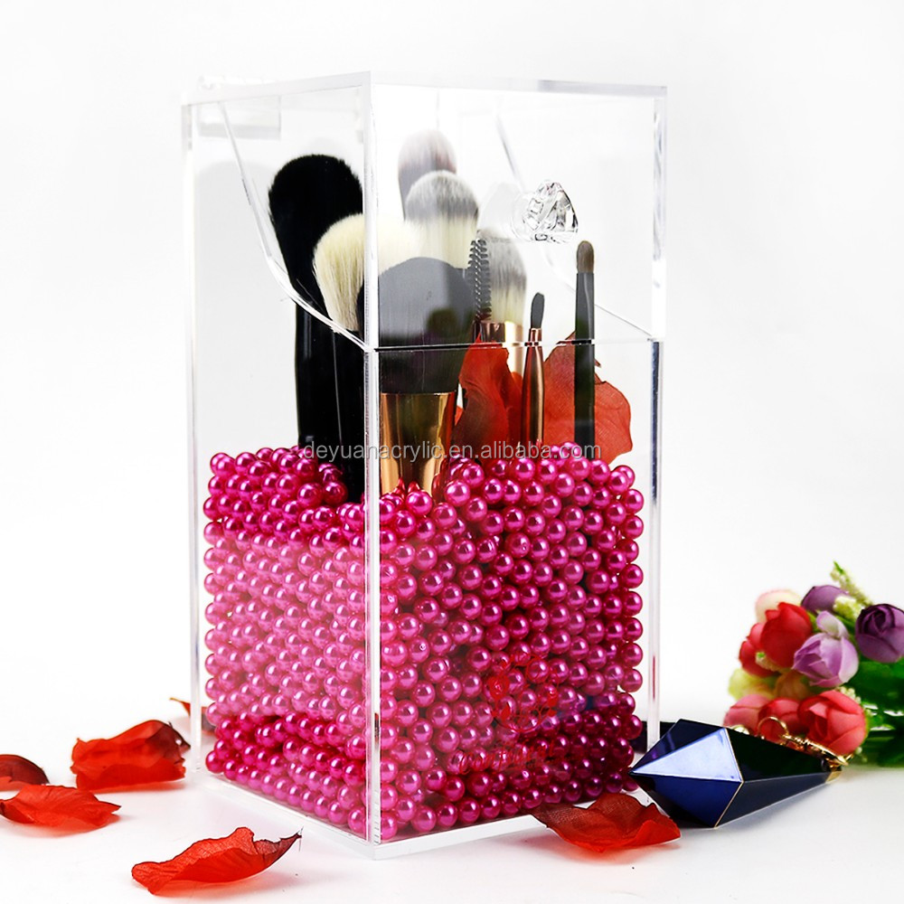 Acrylic Make up Brush Holder with Pearl