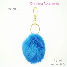 8cm long real rabbit fur pom-pom key chain real fur fluffy keychain