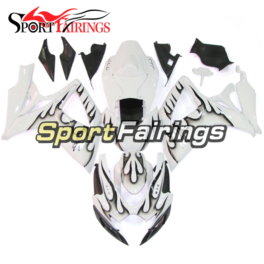 Injection Full Fairings For Suzuki GSXR600 GSXR750 K6 06 07 2006 ABS Plastic Complete Motorcycle Fairing Kit White Black Flames