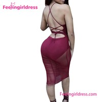 Red Wine Backless Bodycon Hollow Out Transparent Without Dress Sexy Girls Photo