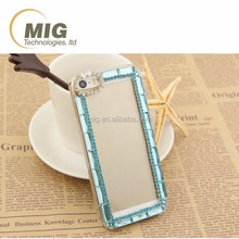 Clear PC crystal cell phone case with diamond for iphone 6s 6 5s 5 plus, 6 colors diamond mobile phone back cover